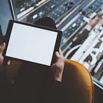 Mock up of digital tablet in man's hands